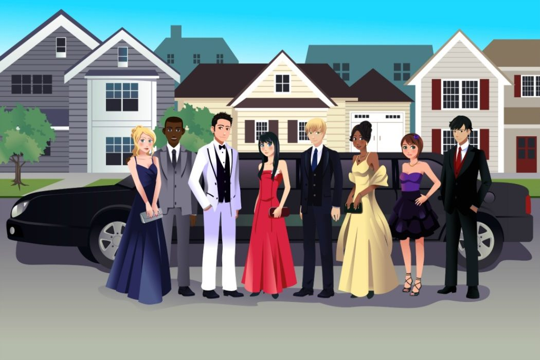 A vector illustration of teen in prom dress standing in front of a long limo